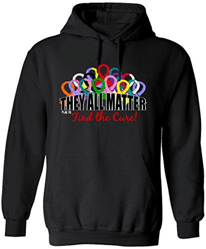 They All Matter Cancer Awareness Ribbons Hoodie Hooded Sweatshirt Unisex [2X] Black