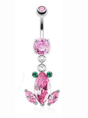 Pink Frog Diamond Dangle Charm Navel Ring (1.6 mm, 14 Gauge)