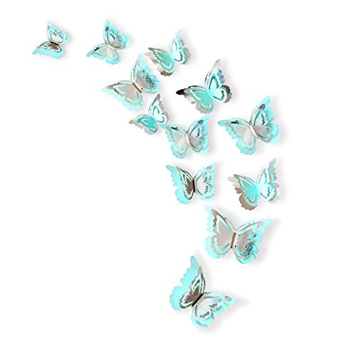 Wall Butterfly Murals - pinkblume Silver and Blue 3D Butterfly Decorations,Man-Made Removable Butterfly Wall Stickers/Decals/Mural for Livingroom,Kids/Girls Bedroom,Nursery,Party Decor (27Set).