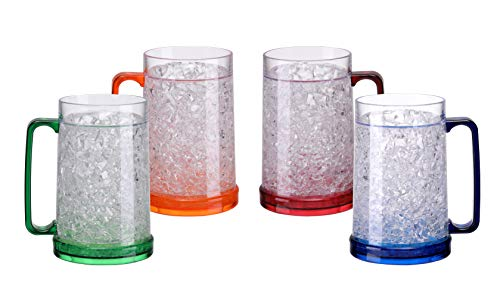 BC Inter Double Wall Gel Frosty Freezer Ice Mugs Clear 16oz Set of 4 (Blue, Red, Orange and Green)