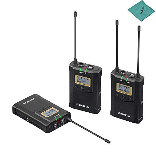CoMica CVM-WM100 Plus Wireless Dual Lavalier Microphone System with Real-time Monitoring M/S Switch LCF Muting Mode Adjustable Volume Functions for Canon Nikon Sony Panasonic DSLR Camera (Switch Muting Mic)