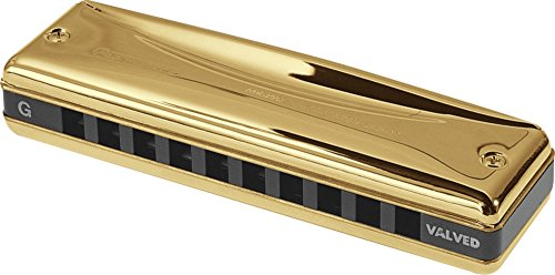 Suzuki MR-350VG-LF Promaster Valved Gold Deluxe 10-Hole Diatonic Harmonica, Key of F Low by Suzuki