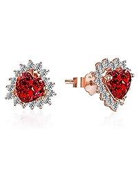 Lovans Rose Gold Stud Earrings Love Heart Cubic Zirconia Earrings