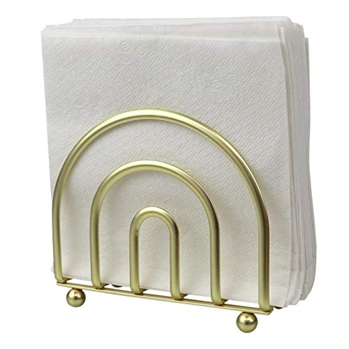 Home Basics Paper Napkin Holder/Freestanding Tissue Dispenser for Kitchen Countertops, Dining Table, Picnic Table, Indoor & Outdoor Use, Durable Storage and Organization Option (Gold Satin Finish)