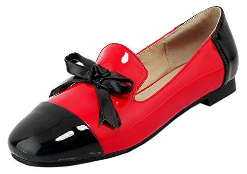 Ballerines Bout Plate Carré Avec Confort Nœud Easemax Multicolore Rouge Femme 7EwpBY7UqF