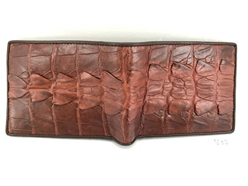 Crocodile V02 Leather 1 Bifold Genuine Skin Brown Wallet Handamde Men's BnqwdfxdSp