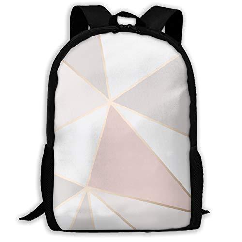 Mochila geométrica de color oro rosa con cierre, mochila de viaje, bolsa de gimnasio para hombre y mujer, Color1, 11 x 17 x...