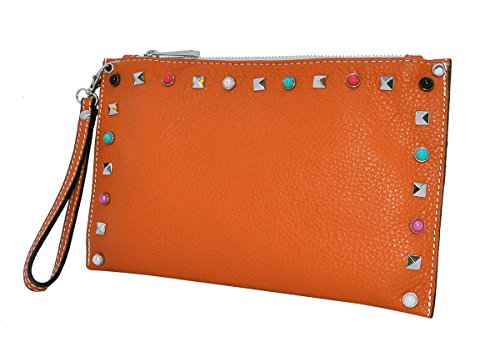 in Orange Genuine Clutch bag Italy LINA BORDERLINE Leather 100 Made S4SRfp
