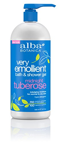 Alba Botanica Very Emollient, Midnight Tuberose Bath & Shower Gel, 32 Ounce - Packaging May (Tuberose Bath Gel)