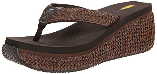 Volatile Women's Island Wedge Sandal, Brown, 7 B US