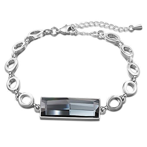 (dnswez Silver Grey Rectangle Crystal Bracelets Chain Link Adjustable Length Bracelet for Women Girl)
