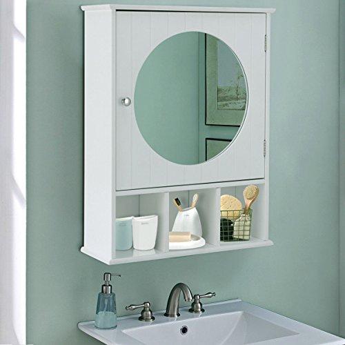 (Bathroom Cabinet Mirror Door Wall Mount Storage Wood Shelf White Finish)