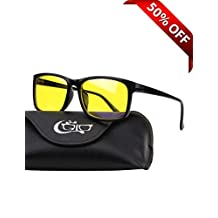 CGID CY12 Blue Light Blocking Glasses, Anti Glare Fatigue Blocking Headaches Eye Strain, Safety Glasses for Computer/Phone, Vintage Rectangle Black Frame,Yellow Lens