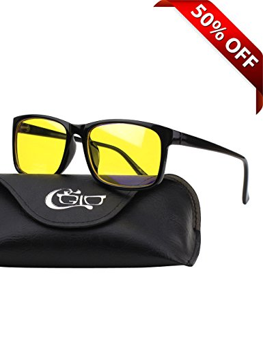 CGID CY12 Blue Light Blocking Glasses, Anti Glare Fatigue Blocking Headaches Eye Strain, Safety Glasses for Computer/Phone, Vintage Rectangle Black Frame,Yellow - Light Blue Blocker