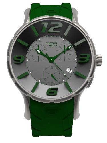 NOA Unisex Swiss Quartz Watch - Premium Analog Display With Gray Dial and Green Watch Band - White and Green Accents - Water Resistant Stainless Steel Fashion by Noa Watch