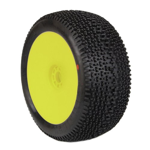 AKA Products 14112SRY Racing Truggy Evo City Block Soft Pre-Mounted Yellow Tire, Scale 1:8 ()