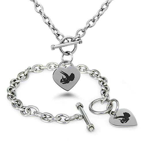 Stainless Steel Triceratops Fossil Heart Charm Toggle, Bracelet & Necklace Set