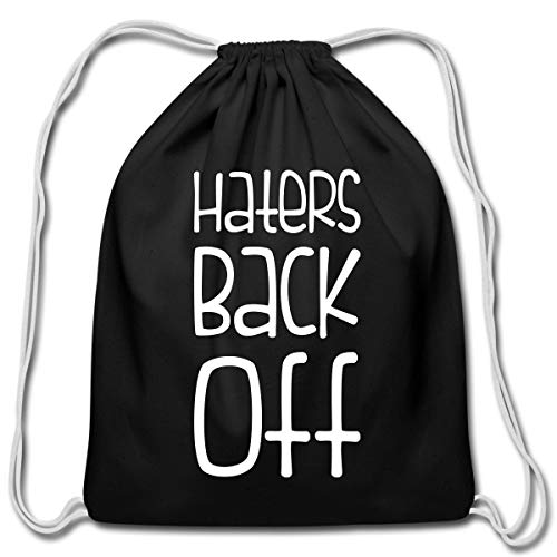 Spreadshirt Miranda Sings Merch Haters Back Off Cotton Drawstring Bag, black -