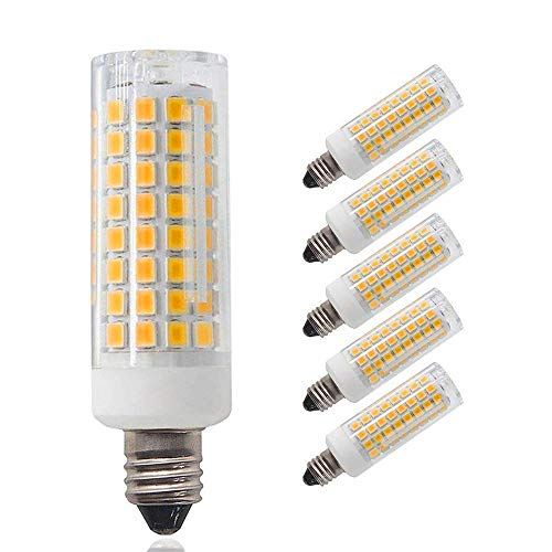 (Pack of 5)E11 led bulb, Dimmable, Mini Candelabra Base,75W 100W Equivalent halogen Repalcement 850 Lumens, AC110V/ 120V/ 130V, Warm White 3000K,Replaces T4 /T3 JD Type Clear E11 Light Bulb