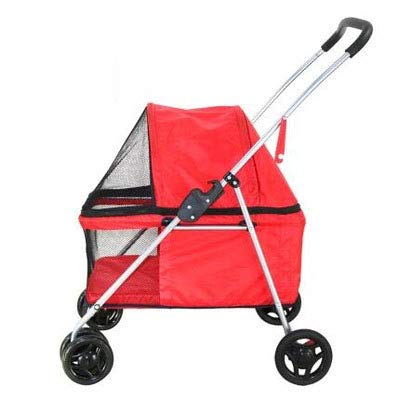 Red Large Dog Pet Stroller Four Wheels Lightweight Simple Foldable Washable 75  55  97Cm