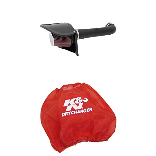 - K&N 63-1566 Performance Air Intake System with Red Air Filter Wrap