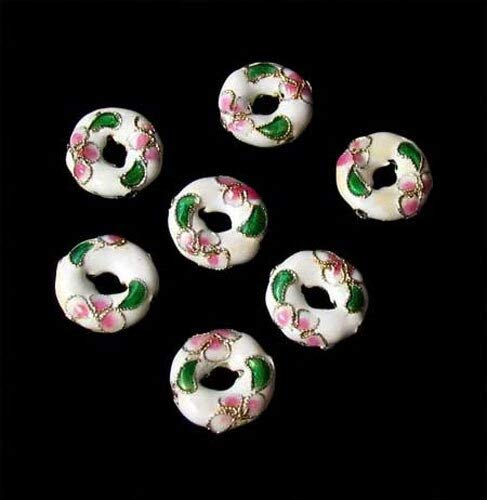 7 Flowers White Cloisonne 15x4mm Pi Circle Beads for Jewelry Making 8637A ()