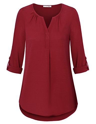 Messic Casual Chiffon Blouse For Women, Ladies Loose Henley V Neck 3/4 Sleeve Chiffon Work Tee Shirts Tops(Medium,Wine) 3/4 Sleeve Henley In Red