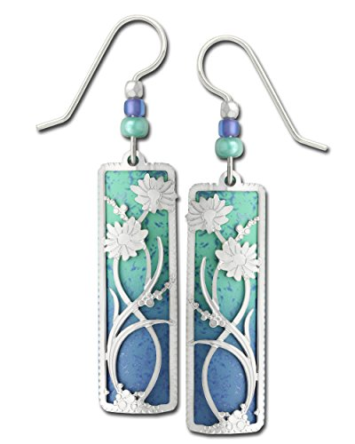 (Adajio Earrings Blue Column 2 Part Silvery Daisies Filigree Hand Painted with Gift Box Made in USA)