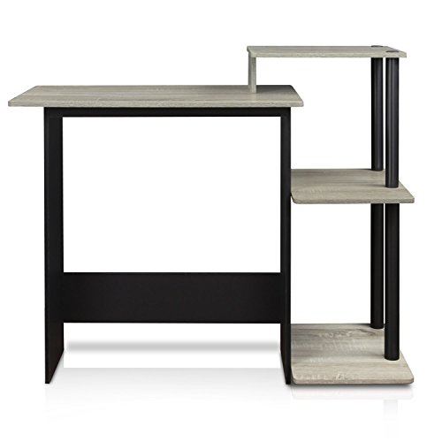 FURINNO 11192GYW/BK Laptop Notebook Computer Desk, Square Side Shelves, French Oak Grey/Black