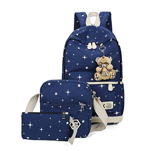 Sets W12cm Blue Women School L25cm Green Cute Backpacks Girl Bear H43cm Bags Canvas 3Pcs dPZqwpd