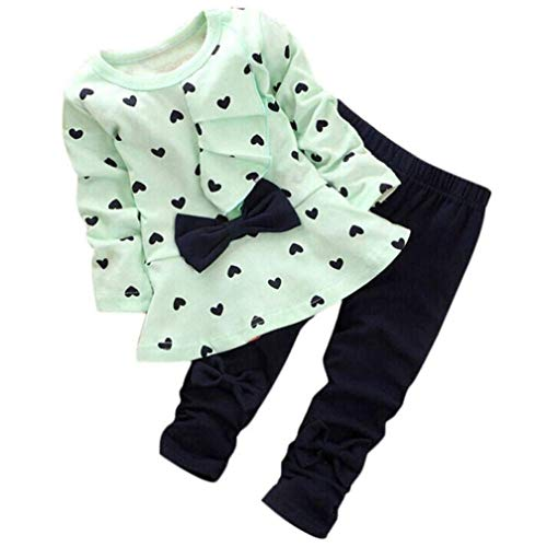 0-3 Years Kids Baby Girls Clothes Cute Heart-Shaped Print Bow Tops T Shirt + Pants Leggings 2Pcs Outfits Sets (Green, 4T(3-4 Years))