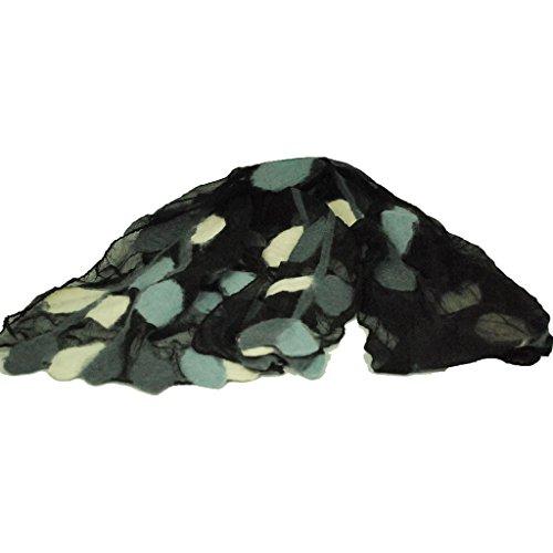 Wool Felt and Silk Leaf Design Chiffon Scarf - Black