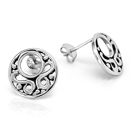 925 Oxidized Sterling Silver Open Filigree Circle Round Tribal Post Stud Earrings 13 mm