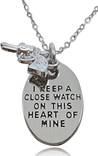 Inspirational Silver Tone  I Keep A Close Watch On This Heart Of Mine  Gun Charm Necklace   Inscribed On Both Sides
