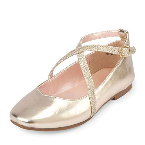 Image of The Children's Place Girls' Strap Ballet Flat, Gold, Youth 3 Regular US Big Kid