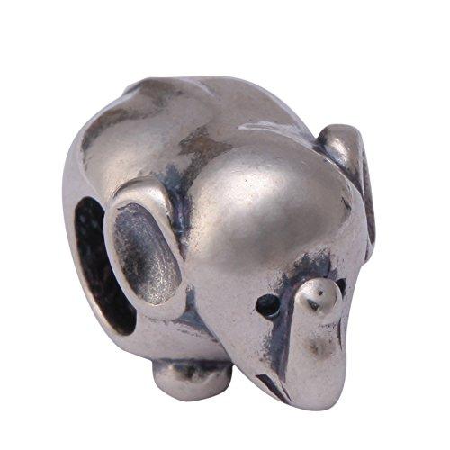 Sterling Silver Charm Adorable Elephant Charm Bead for Eu...