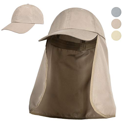 Tirrinia Outdoor Sun Protection Fishing Cap with Neck Flap for Baseball Backpacking Cycling Hiking Garden Hunting Camping Khaki