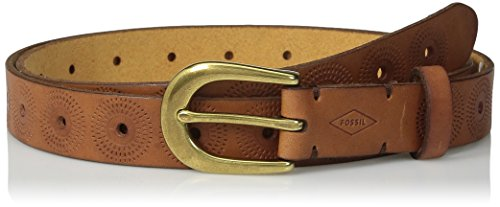 Fossil Women's Floral Perforated Embossed Belt, Brown, Large