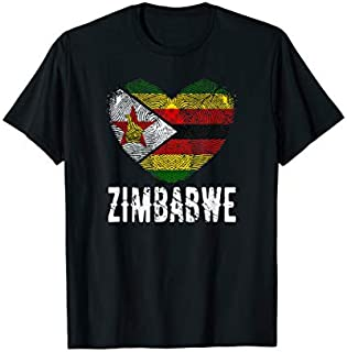 [Featured] Zimbabwe Flag Heart Fingerprint in ALL styles | Size S - 5XL