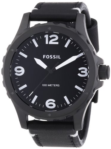 Fossil JR1448 Mens Nate Black Leather Strap Watch