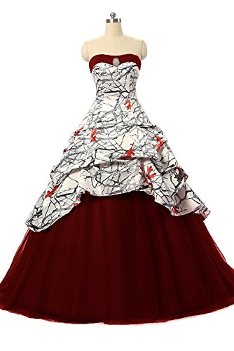 1bfd5b676ee41 XSWPL Women's Strapless Ruffles Bridal Camo Wedding Dress For Bride Formal  Evening Party Gowns Burgundy US18