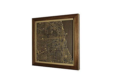 - Framed Wooden Map of Chicago USA Decor Home Office Town Picture Laser Cut Wall Map Art Wood Handmade Dark Color 30x30 cm (12x12)