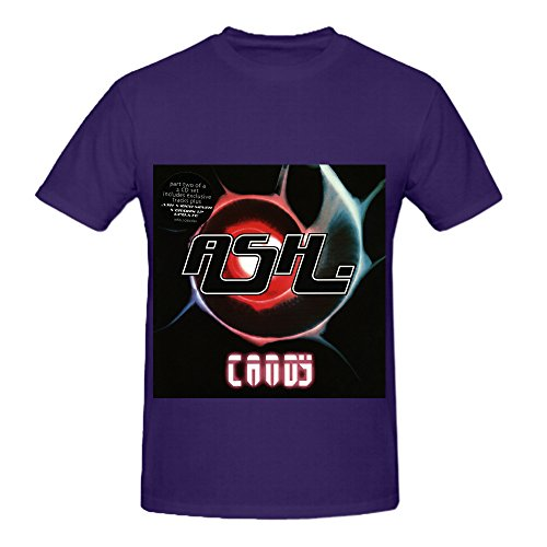 Candy Ash Pop Album Cover Mens Crew Neck Music Tee Purple