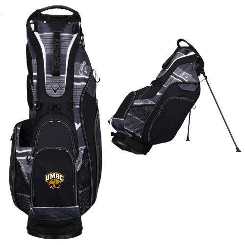 CollegeFanGear UMBC Callaway Hyper Lite 3 Black Stand Bag 'Official Logo - Arched UMBC w/Retriever'