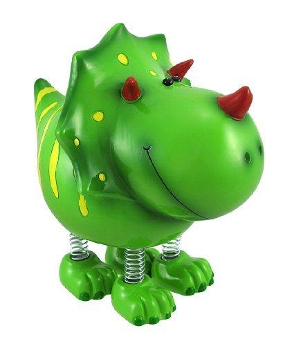 Zeckos Smiling Green Triceratops Dinosaur with Spring Legs Children`s Coin Bank