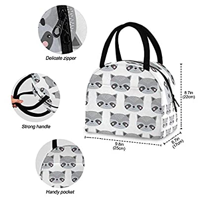 Lunch Bag Women Reusable Tote Bag Cooler Insulated - Cute Animals Raccoon Lunch Box for Kids Adults Children School Office Picnic: Kitchen & Dining