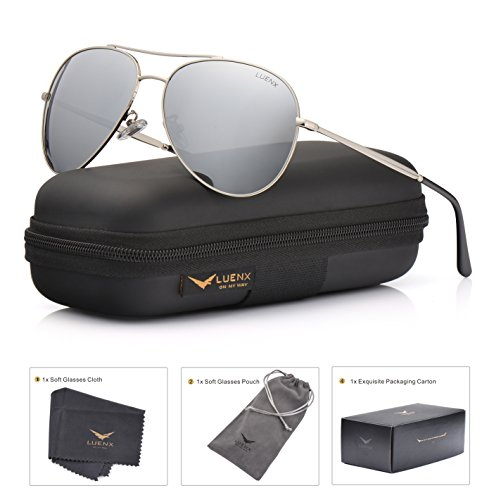 LUENX Aviator Sunglasses Polarized for Men & Women with Case - 400 UV Silver Lens Metal Gloss Silver Frame Colored - Aviator Silver Sunglasses Mirrored