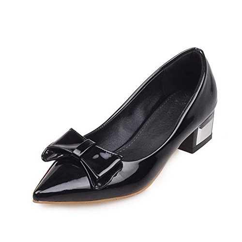 VogueZone009 Women's PU Solid Pull-on Pointed Closed Toe Low-Heels Pumps-Shoes Black 6Guea4gO