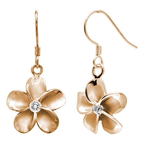 14k Rose Gold Plated Stering Silver CZ Plumeria Hook Earrings, 12mm