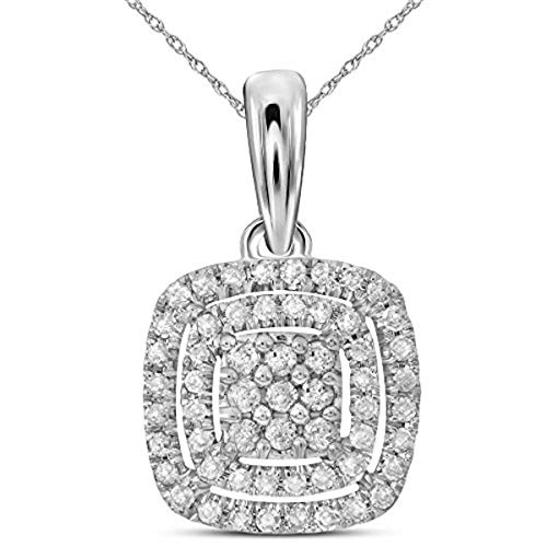 Gold Diamond Square Pendant - Roy Rose Jewelry 14K White Gold Womens Round Diamond Concentric Square Cluster Pendant 1/3-Carat tw